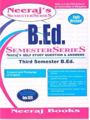B.ed 3rd Sem Scanner- Content And Pedagogy Of English - Bangalore University
