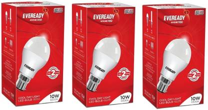 Eveready 10W LED Bulb Pack of 3 with Free 4 Batteries