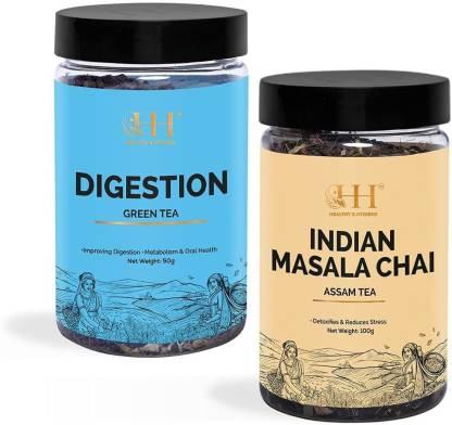 HEALTHY & HYGIENE Digestion Green Tea (Jar-50g) + Indian Masala chai (Jar-100g) Green Tea Plastic Bottle