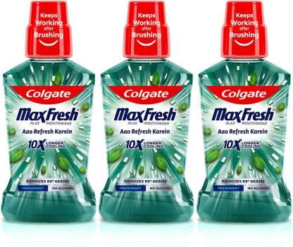 Colgate Maxfresh Plax Antibacterial Mouthwash, 24/7 Fresh Breath - Fresh Mint ( Pack of 3 )