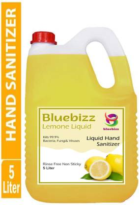 bluebizz Lemon Liquid 75% Alcohol Based Sanitizer Instantly To Kills Germs And Viruses Protection Without Water with Triple Action Formula Hand Sanitizer Can