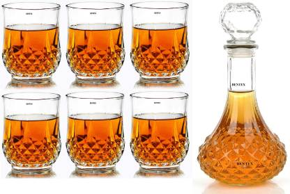 Bentex Glass Crystal Whiskey Decanter Set with Glasses, Set of 7 Pieces Whiskey, Scotch, Rum, Bourbon Decanter