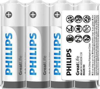 PHILIPS Zinc Chloride AA Performance Batteries For Everday Ectronics Clock Remotes and Calculator ( Pack of 100 )  Battery