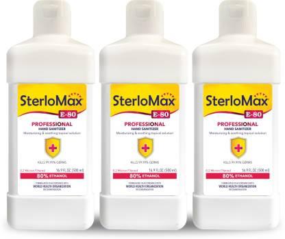 SterloMax Pack of 3 - 80% Ethanol-based Hand Rub Sanitizer and Disinfectant 500 ML Hand Sanitizer Bottle