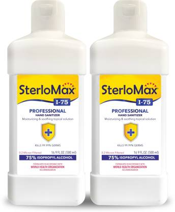 SterloMax Pack of 2 - 75% Isopropyl Alcohol-based Hand Rub Sanitizer and Disinfectant 500 ML Hand Sanitizer Bottle