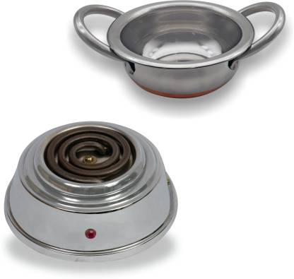 Orbon Baby 500 Watts Electric Coil Cooking Stove | Induction Cooktop | Electric Cooking Heater | Hot Plate Cooking Stove | Compact Stove | Food Warmer | Works With All Cookwares | With Mini Kadhai Combo (Silver) Radiant Cooktop
