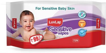 LuvLap Baby Sensitive Wipes with No Fragrance, 72 wipes/pack