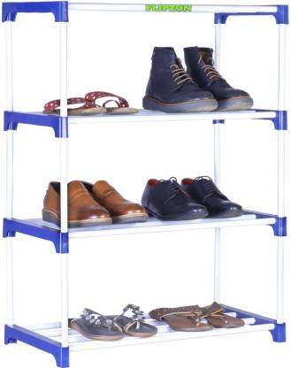 FLIPZON Multipurpose Metal, Plastic Rack Organizer for Shoe/Clothes/Books - (65.5 (L) x 32.5 (B) x 93 (H) Cms) (Need to Be Assemble - DIY) Rust-Proof - Small Metal, Plastic Shoe Stand