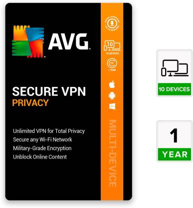 AVG Secure VPN 10 PC 1 Year VPN Security (Email Delivery - No CD)