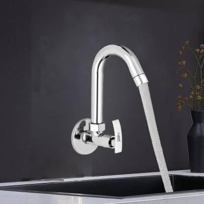 Caisson Brass Sink Cock Paisson Handle with Swivel Spout,with Flange and Aerator Foam Flow-Set of 1 Pillar Tap Faucet
