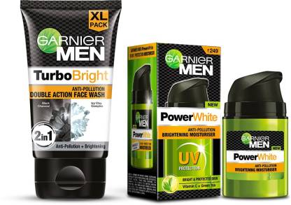 GARNIER Men Brightening Combo Turbo Bright Facewash, 150 gm + Power White Moisturiser, 50 gm (Pack of 2 Prodcuts) Face Wash