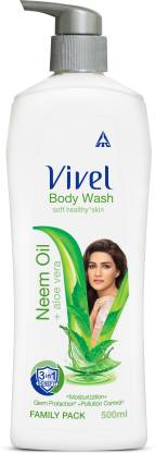 Vivel Body Wash, Neem Oil & Aloe Vera Shower Creme, 500ml Pump