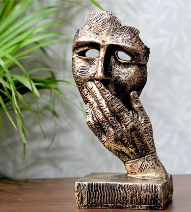 Flipkart SmartBuy Handcrafted Human Face Design with Hand on Mouth Decorative Showpiece - 23 cm(Polyresin, Gold)