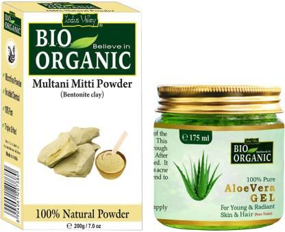 Indus Valley Non-toxic Aloe vera Gel and Pure Multani Mitti Combo Pack