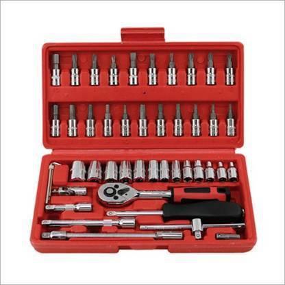 HASRU High Quality 46pcs 1/4-Inch Socket Set Tool Ratchet Torque Wrench Combo Tools Kit Car Repair Tools Set Socket Set (Pack of 1) Vehicle Tool Kit