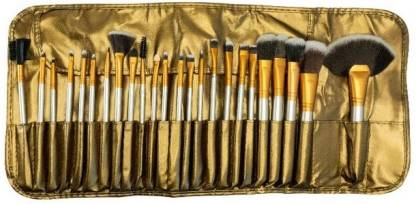 KASCN Cosmetic Brush Set (24 Pieces) with Golden Leather Pouch for Eye Shadow Blush Concealer