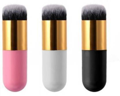 KASCN Professional Multicolor Foundation Makeup Cosmetic Brush (White, Black and pink)