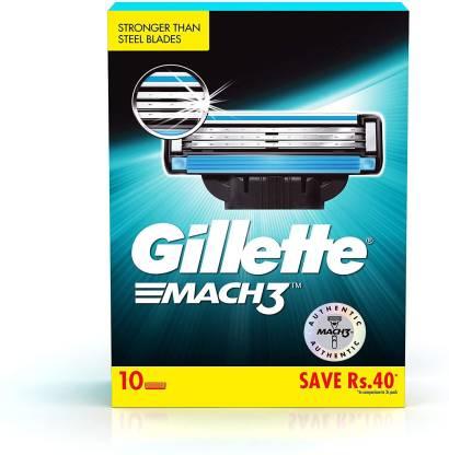 GILLETTE Mach3 Shaving 3-Bladed Cartridges(Pack of 10)