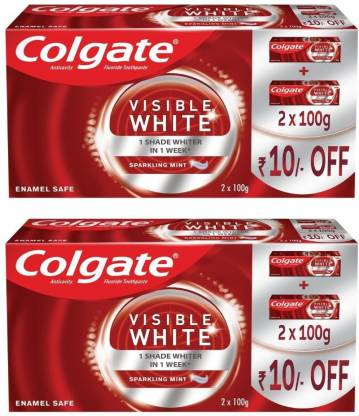 Colgate Visible White Sparkling Mint – 200gm Saver Pack (Pack of 2) Toothpaste(400 g, Pack of 2)