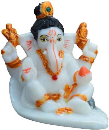 eCraftIndia Lord Ganesha with Bun Decorative Showpiece  –  6.35 cm(Microfibre, White)