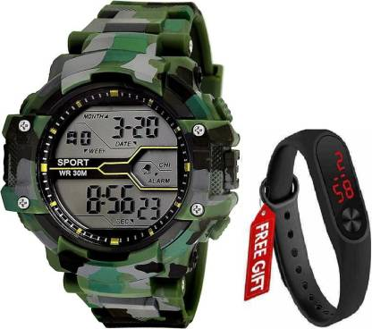 hala Abx1017-Gents Green Solitary Camouflage Pattern NEW GENERATION DIGITAL NEW DIGITAL LED SPORTS Digital smart Watch Unique Arrow New Arrival Silicon Strap (S-SHOCK) (G90) DIGITAL STYLISH WATCHES FOR KIDS Digital Watch - For Men New Latest Red LED Illuminated Display LED,Digital Black Digital Watch Digital Watches Mens Digital Watch Digital Watch - For Men