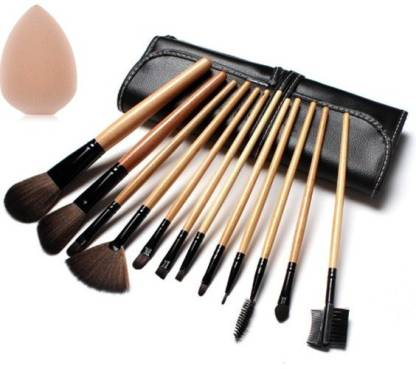 KASCN BEAUTY FOUNDATION BLACK BRUSH SET AND MINERAL POWDER BRUSH SET 24 PCS WITH SPONGE PUFF IN PU LEATHER BAG