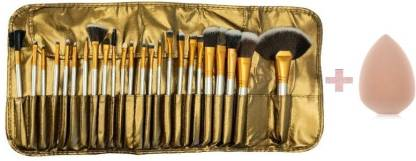 KASCN BEAUTY FOUNDATION GOLDAN BRUSH SET AND MINERAL POWDER BRUSH SET 24 PCS WITH SPONGE PUFF IN PU LEATHER BAG