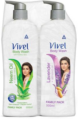 Vivel Body Wash, Lavender & Almond Oil and Neem Oil & Aloe Vera, Shower Crme, 500ml Pump, For women and men
