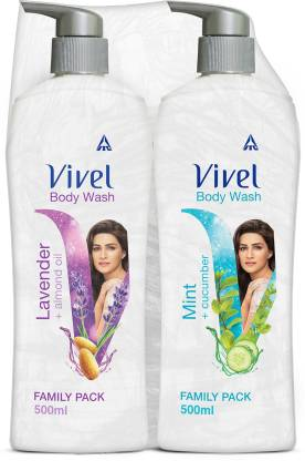 Vivel Body Wash, Lavender & Almond Oil and Mint & Cucumber, Shower Crme, 500ml Pump, For women and men