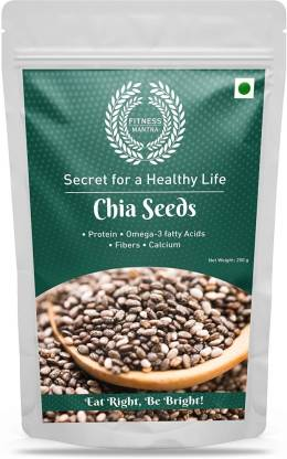 Fitness Mantra Organic Chia Seeds 250g for Weight Loss | Contains fibre & Protein | Great with Shakes, Smoothies