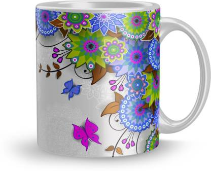 THE NK Store Butterfly Flower Design Design Printed Colorful Coffee And Tea 320ml1405 ) Ceramic Coffee Mug