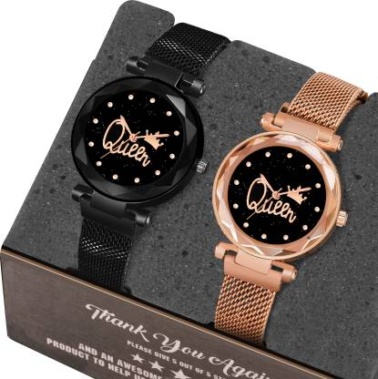 MR NUN Q_G_B_M Pack of 2 Queen Dial Magnetic Strap Luxury Blue and Black Analog Girls Analog Watch - For Women MN Analog Watch - For Women