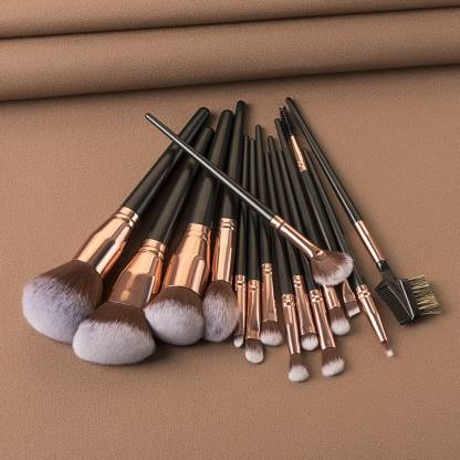 Luxury Beauty Makeup Brushes 15Pcs Makeup Brush Set Premium Synthetic Kabuki Brush Cosmetics Foundation Concealers Powder Blush Blending Face Eye Shadows Black Brush Sets(Pack of 15)