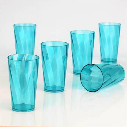 Madhuvan (Pack of 6) Twisted Shape Plastic Water Glasses Glass Set