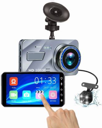 """kulkr A10 Car Dash Cam 3.6"""" Touch Screen LCD 1080p 170° Wide Dual Lens Front & Rear DVR Video Recorder Camera with G-Sensor, Motion Detect, Night Vision, WDR & Parking mode Vehicle Camera System"""