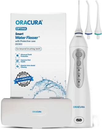 ORACURA Smart Water Flosser OC001 with Protective Case | Portable and USB cable Rechargeable | IPX7 Waterproof | 3 Modes | Water Flossing for Home and Travel, Braces & Bridges Care, Blue tank