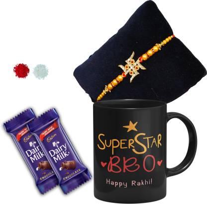 Cadbury Super Star Bro Black mug with Red kundan Rakhi,1 Rakhi, 1 Tilak Pack With Rakshabandhan Greet Card Rakhi for Brother Bhai Bro Bhaiya Combo
