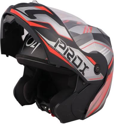 O2 PROX Full Face Flip Up with Scratch Resistant Clear Visor & Cross Ventilation Motorbike Helmet