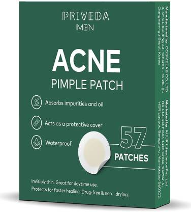Priveda Men Acne Pimple Patch, Skin Treatment, Invisible Facial Stickers-57 Patches