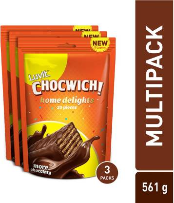 LuvIt Chocwich Home Delights Wafer Chocolates | Crunchy & Delicious | Homepack | Gift Combo Bars(3 x 187 g)
