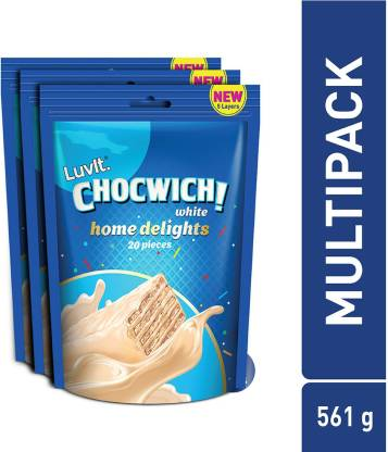 LuvIt Chocwich White Home Delights Wafer Chocolates | Crunchy & Delicious | Homepack | Gift Combo Bars(3 x 187 g)