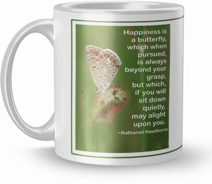 THE NK Store Beautiful Happiness Butterfly Printed Colorful Coffee And Tea 320ml Multicolor (1716 ) Ceramic Coffee Mug
