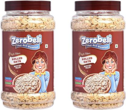 Zerobeli Rolled Oats 1.2 kg Jar (2pcs x600g)