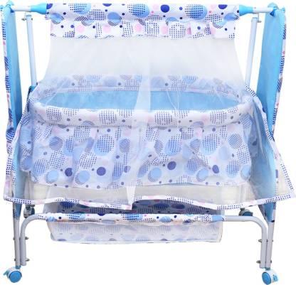 MeeMee Baby Cradle with Swing, Mosquito Net, Storage Basket(Blue)