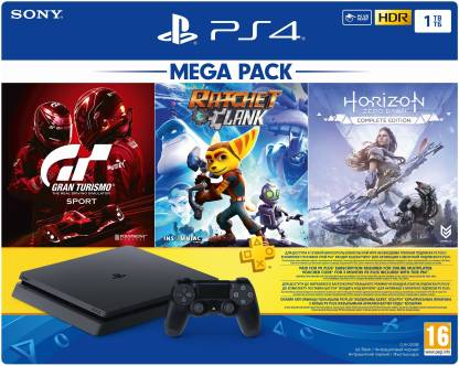 SONY PS4 CUH-2208B 1000 GB with Gran Turismo, Ratchet and Clank and Horizon Zero Dawn