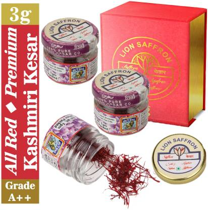 LION SAFFRON Grade A++ Pure All Red Kashmiri Kesar Saffron - Mongra (Organic)   Natural and Certified High Quality Saffron
