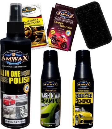 amwax ALL INONE POLISH 200 ML, Scratch Remover 50 ml, Wash and Wax 50 ml, Dashboard Polish Pouch 10 ml 2 Pcs., Body Polish Pouch 10 ml 2 Pcs., Sponge (applicator) Combo