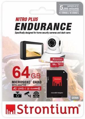Strontium Nitro Plus Endurance A2 64 GB MicroSDXC Class 10 100 MB/s  Memory Card