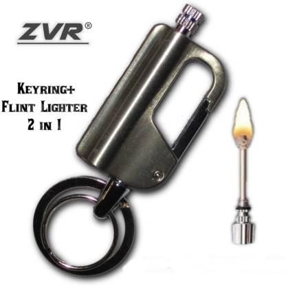 ZVR Keychain + Waterproof Flint lighter| Fire Starter Match Sticks Silver Flintsteel & Magnesium Fire Starter Striker Included