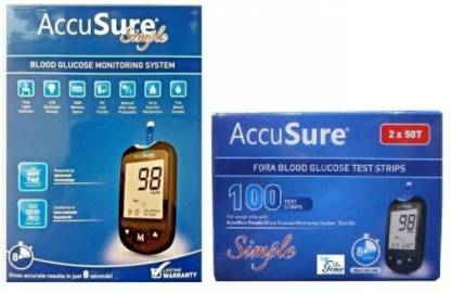 AccuSure Simple Blood sugar Glucose monitoring system machine including 100 Test Strips(with Free Shop & Shoppee gloves pair) Glucometer Glucometer(Black)